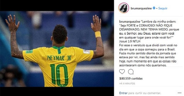 Bruna declara apoio a Neymar após eliminação na Copa