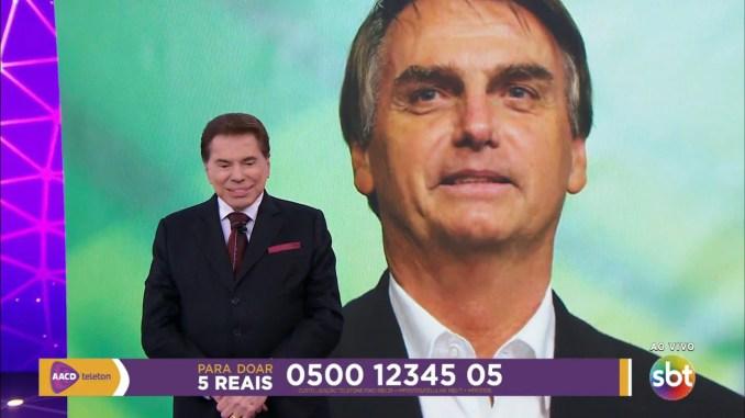 Bolsonaro liga para Silvio e faz doação ao Teleton