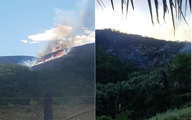 Incêndio de grandes proporções atinge serra em Jacobina