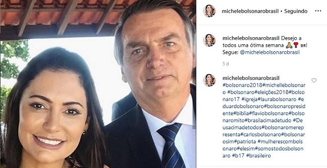 Michelle Bolsonaro abre perfil no Instagram e mostra dia a dia da família