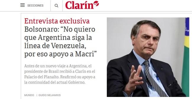 Em entrevista ao Clarín, Bolsonaro reafirma apoio à reeleição de Macri na Argentina