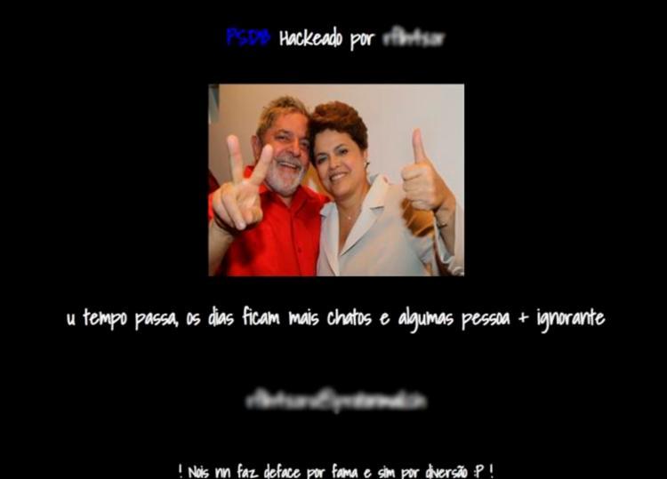 Site do PSDB é hackeado e exibe foto de Dilma e Lula