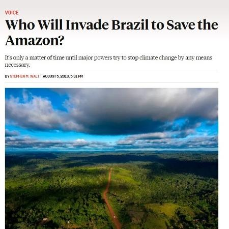 """Diplomata rebate artigo de professor de Harvard sobre """"invadir o Brasil para salvar a Amazônia"""""""