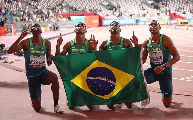 Revezamento 4x100m masculino do Brasil quebra recorde sul-americano