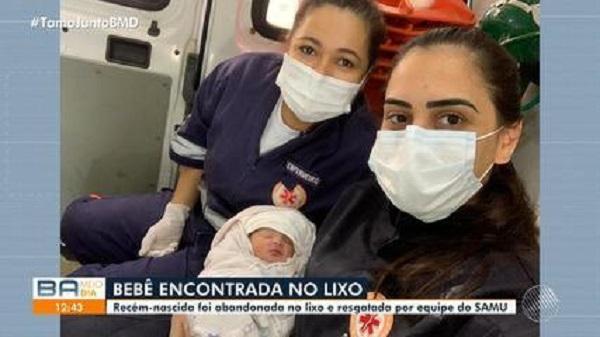 Samu resgata recém-nascida encontrada no lixo em Salvador