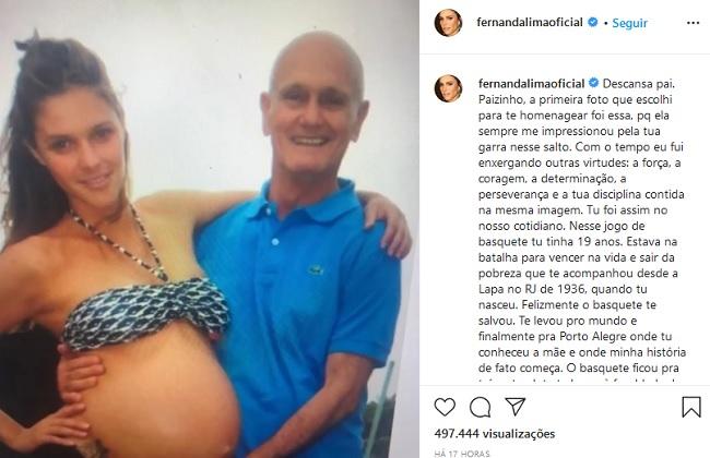 Apresentadora Fernanda Lima lamenta morte do pai por covid-19