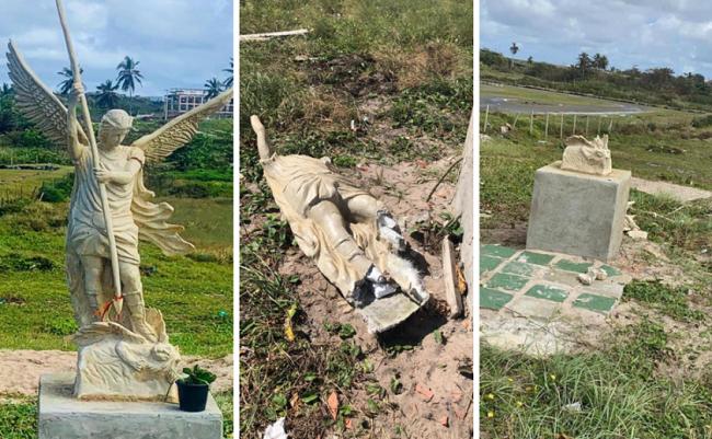 Estátua de São Miguel Arcanjo é destruída em Ipitanga