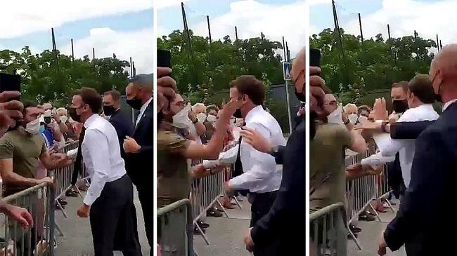 Presidente da França leva tapa na cara durante caminhada