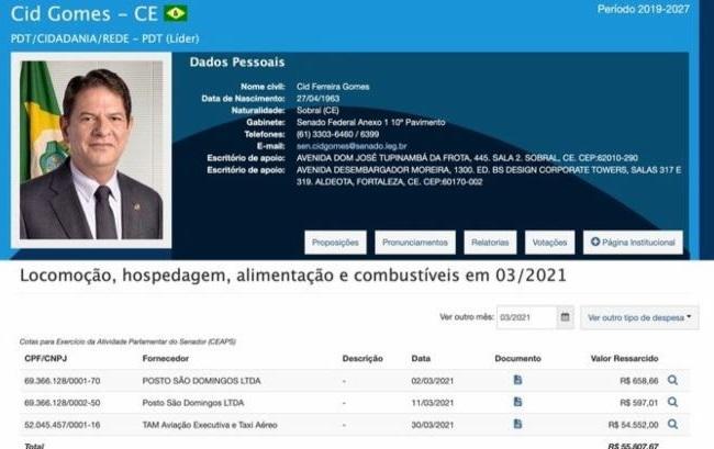 Cid Gomes pede reembolso de R$ 54 mil ao Senado por voo fretado para Salvador